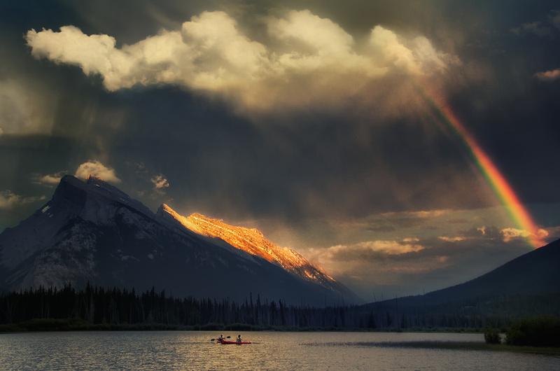 Rainbow over Vermillion Lakes